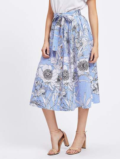 Flower Striped Button Up Volume Skirt