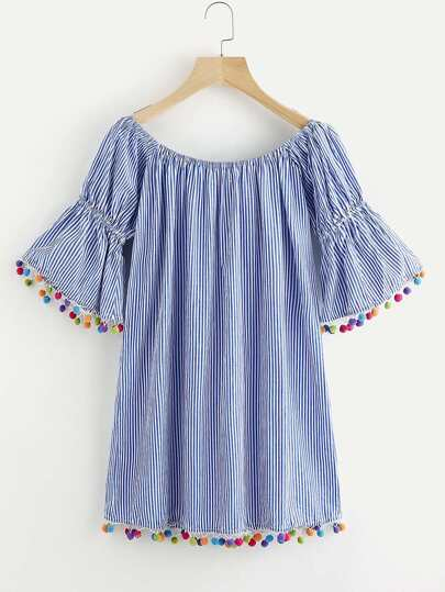 Flute Sleeve Pinstriped Pom Pom Hem Dress
