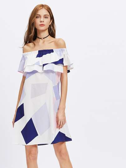 Bardot Frill Tiered Geo Print Dress