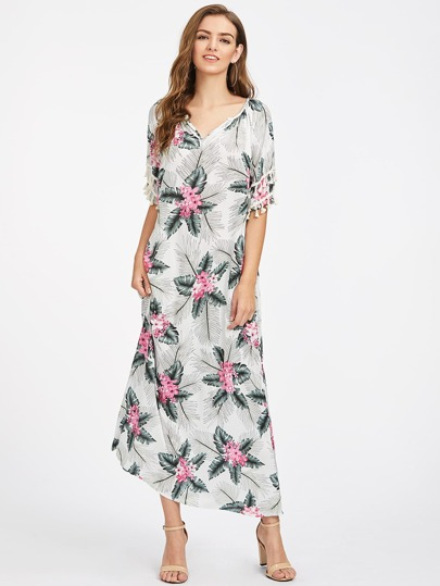 Tassel Sleeve Tropical Print Dress