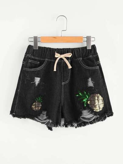 Sequin Pineapple Drawstring Waist Denim Shorts