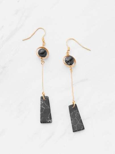 Geometric Marble Design Drop Earrings