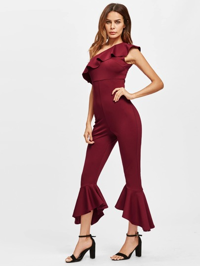 One Shoulder Flounce Detail Jumpsuit