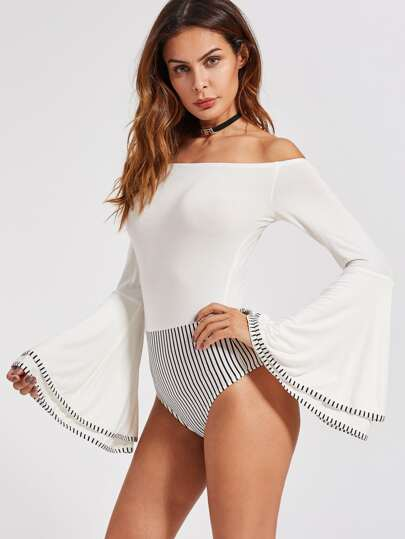 Striped Binding Layered Bell Sleeve Bardot Bodysuit