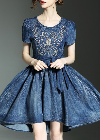 Trees Embroidered Denim High Low Dress