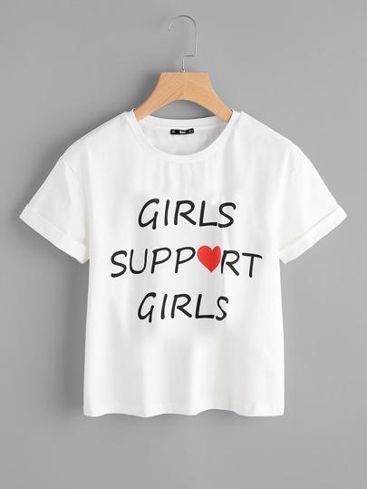 Tee-shirt manche relevée imprimé du slogan