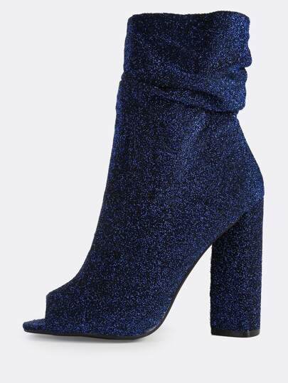 Glitter Shirred Zip Up Peep Toe Heels BLUE