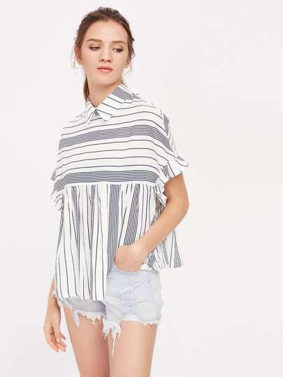 Frill Trim Tie Back Striped Babydoll Blouse