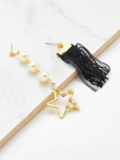 Mismatch Faux Pearl Star & Lace Drop Earrings