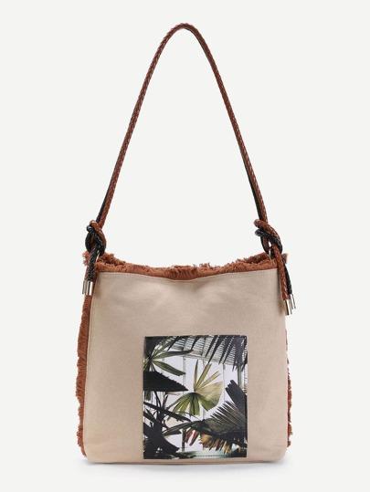 Plant Print Canvas Tote Bag