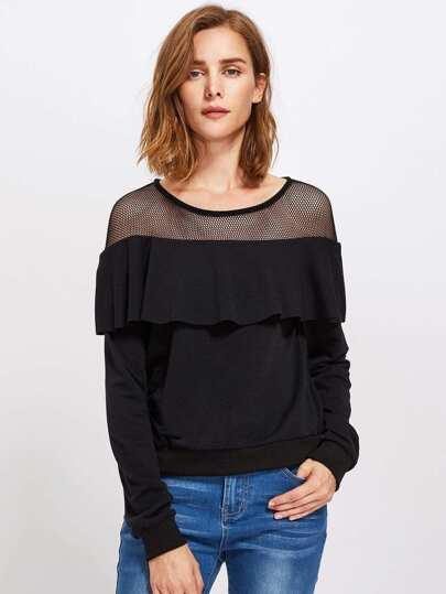 Contrast Mesh Ruffle Trim Sweatshirt
