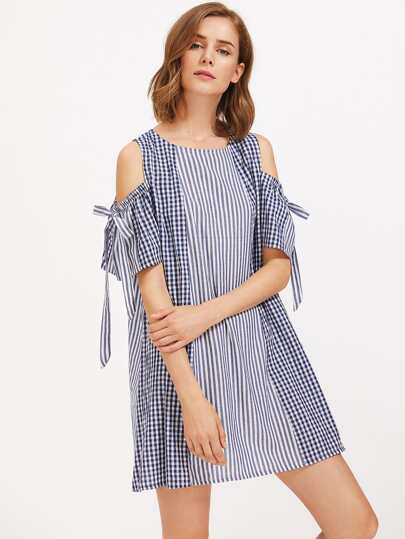 Contrast Gingham Panel Open Shoulder Tie Detail Dress