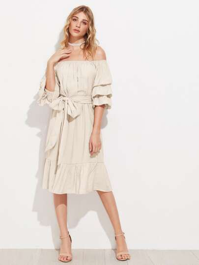 Ruched Sleeve Tie Waist Bardot Dress