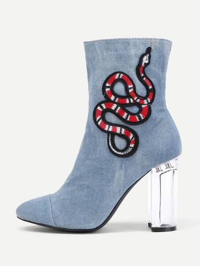 Snake Embroidery Clear Heeled Boots