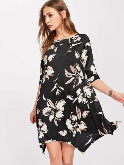 Flower Print Hanky Hem Dress