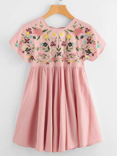 Flower Embroidered Tie Up V Back Smock Dress