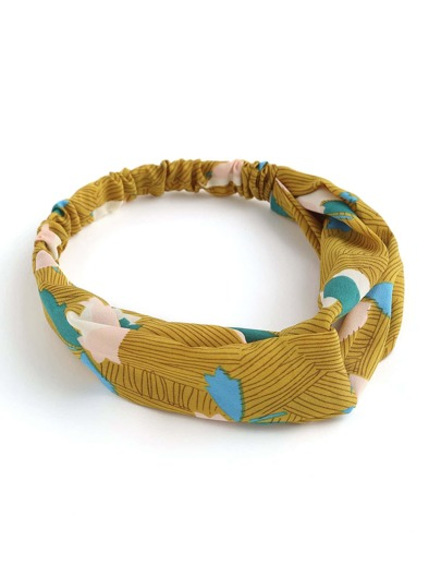 Asymmetrical Striped Print Twist Headband