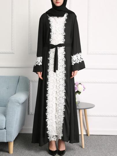 Abaya de encaje de pestaña con cinturón