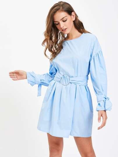 Tie Sleeve O-Ring Belt Detail Dress