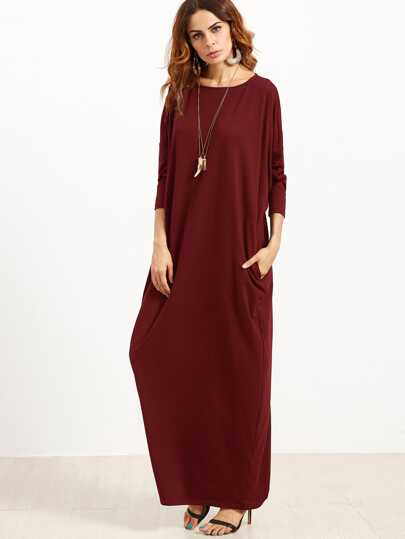 Pocket Side Dolman Sleeve Cocoon Dress