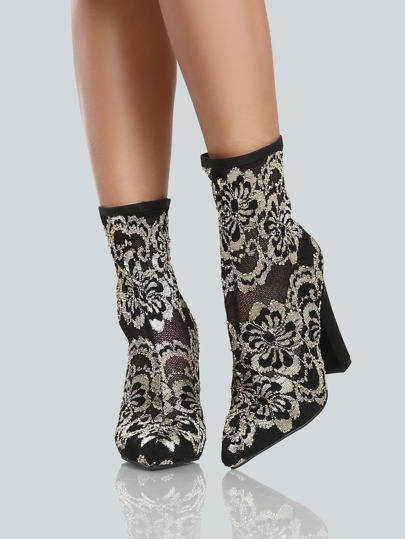 Lace Embroidered Point Toe Boots GOLD