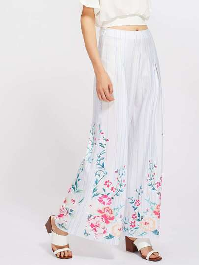 Flower And Stripe Print Fold Pleat Palazzo Pants