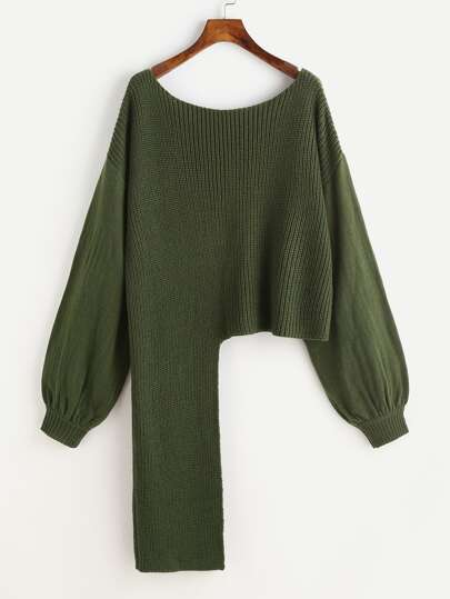 Bishop Sleeve Staggered Jumper