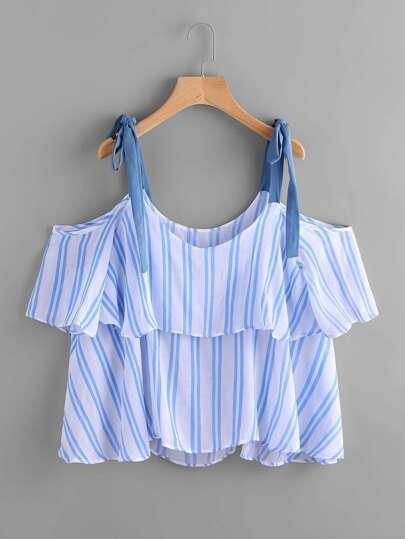 Bluse mit schößchem Saum, Streifen und Band-Träger