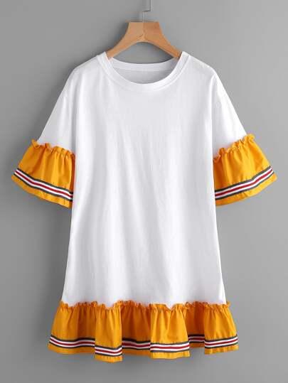 T-Shirt Kleid mit Falten und Streifen