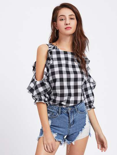 Open Shoulder Frill Trim Check Plaid Blouse