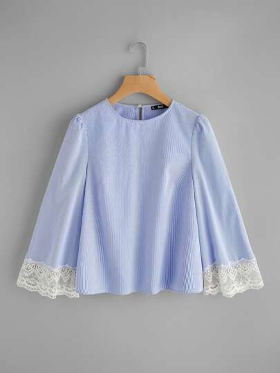 Contrast Lace Trim Fluted Sleeve Pinstripe Top