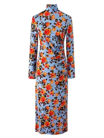 Vestido entallado con estampado floral con detalle plisado
