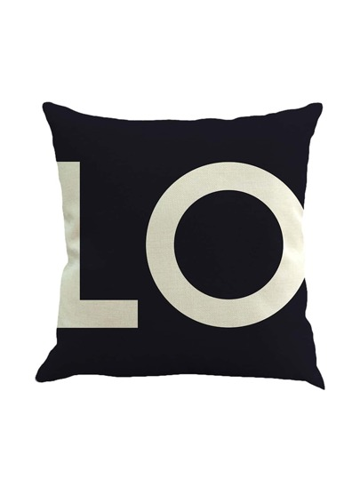 Letter Print Pillowcase Cover