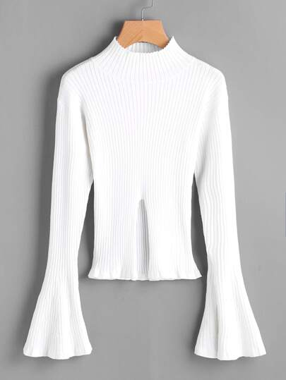 Rib Knit Trumpet Sleeve Slit Jumper