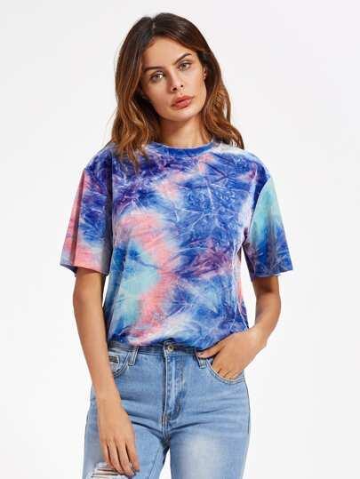 Camiseta de terciopelo con efecto teñido anudado