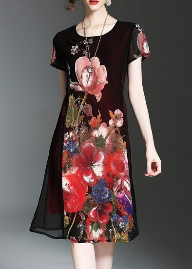 Flowers Print Sheer Dress