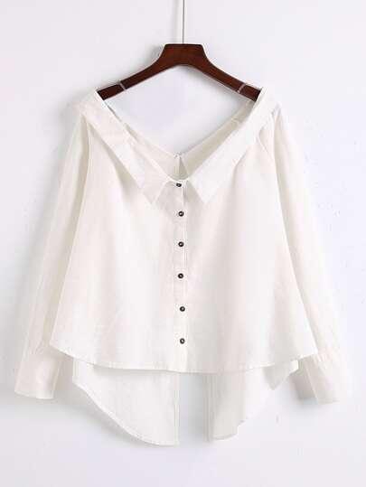 Bluse mit V-Ausschnitt und asymmetrischem Saum