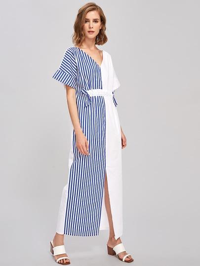 Contrast Vertical Striped Split Front Dress