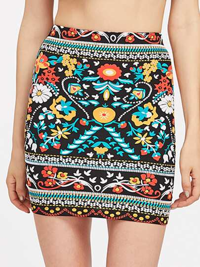 Flower Print Bodycon Skirt