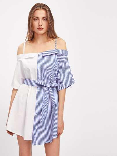 Contrast Striped Self Tie Dress