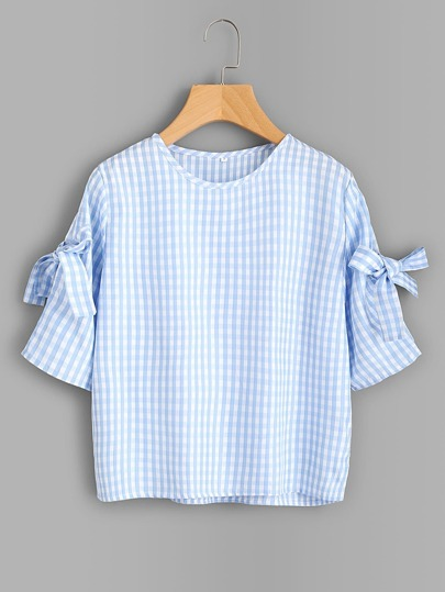 Bow Tie Detail Gingham Blouse