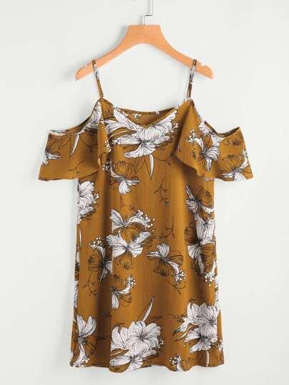 Random Flower Print Frill Sleeve Dress
