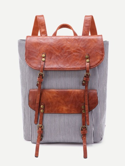 Double Buckle Vertical Pinstripe Backpack