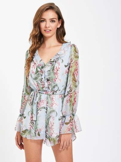 Bell Sleeve Self Tie Ruffle Trim Romper
