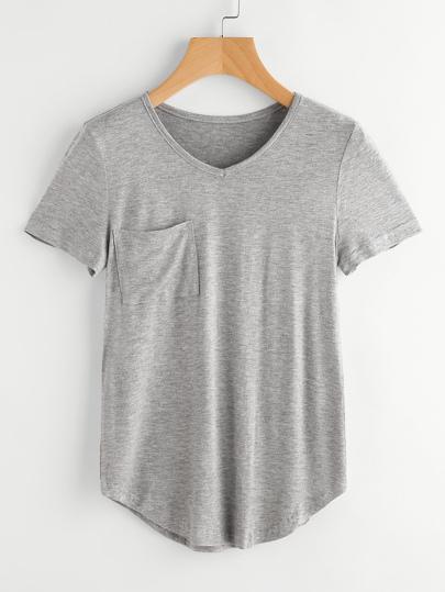 Gekrümmte Saum Marled T-Shirt