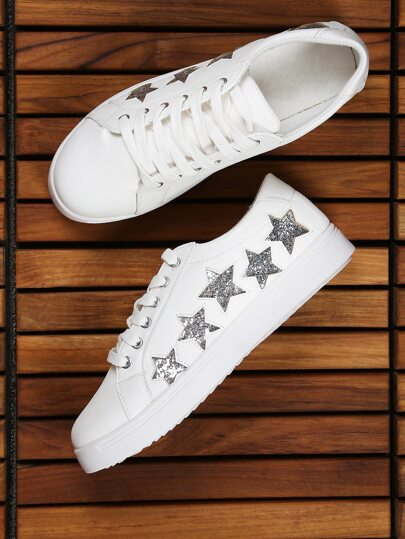 Glitter Star Lace Up Sneakers WHITE