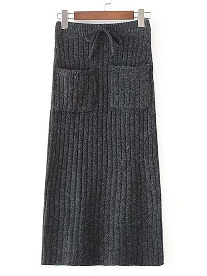 Drawstring Waist Ribbed Knit Skirt
