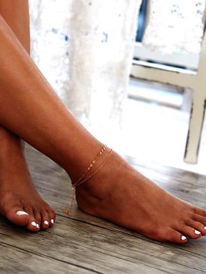 Sequin Detail Double Layer Chain Ankle Bracelet