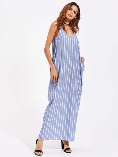 Pocket Side Pinstripe Cami Cocoon Dress