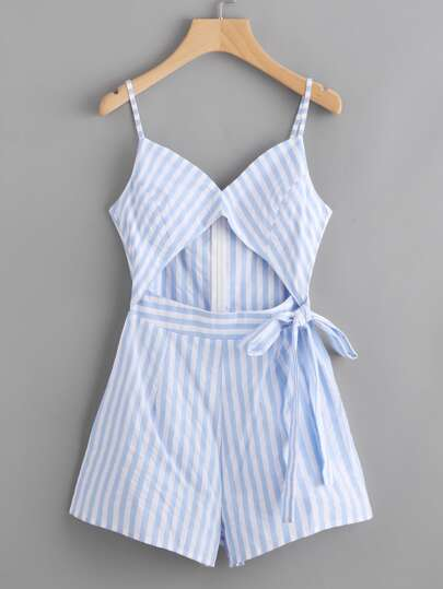 Contrast Striped Keyhole Cut Out Tie Detail Cami Romper